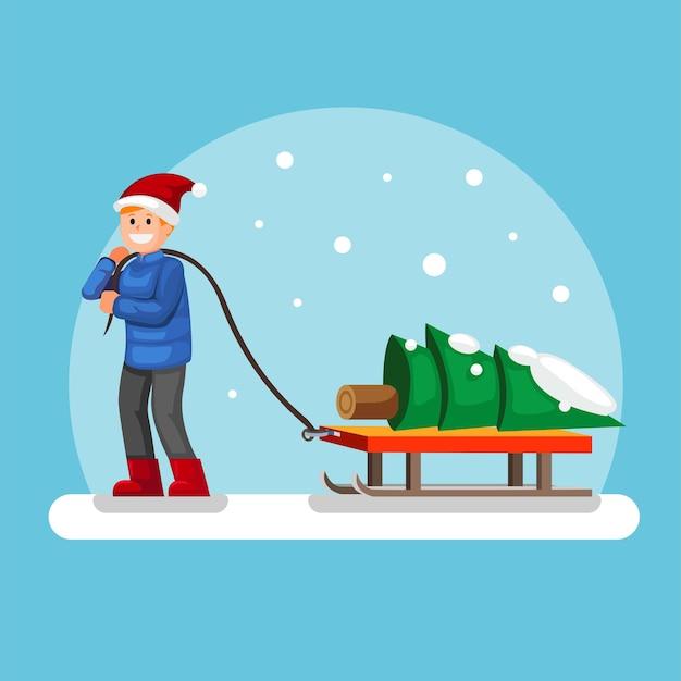 Mann, der einen baum auf schlitten im winterweihnachtsjahreszeitkarikaturillustrationsvektor zieht