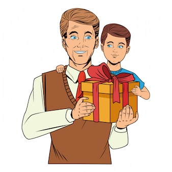 Mann, der einen jungen mit einer geschenkbox trägt