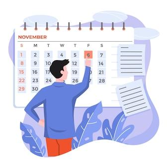 Mann, der einen kalender verwendet, um sich an einen termin zu erinnern