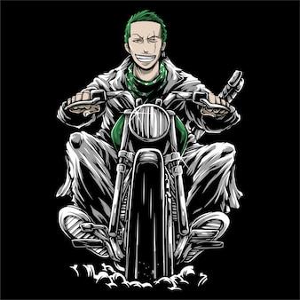 Mann, der einen retro- motorradhandzeichnungsvektor reitet