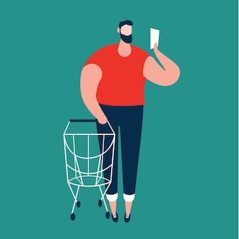 Mann, der einkaufsliste und tragende einkaufslaufkatze am supermarkt überprüft. vektor-illustration