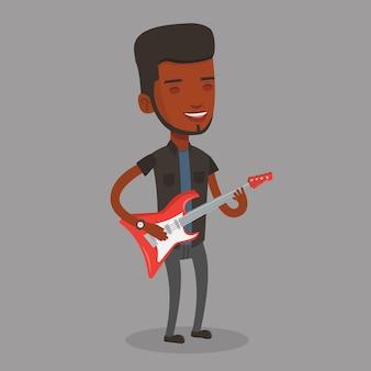 Mann, der elektrische gitarrenillustration spielt.