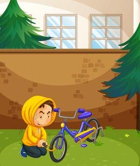 Mann, der fahrrad im park stiehlt