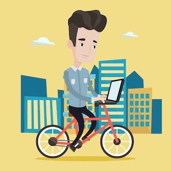 Mann, der fahrrad in der stadtillustration reitet