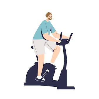 Mann, der fahrradübungen auf schreibwarenfahrrad macht. sport-, fitness- und trainingskonzept. karikatur männliches charaktertraining