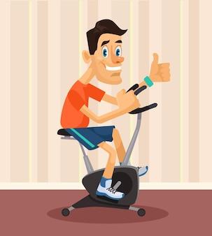 Mann, der flache abbildung des sports reitet