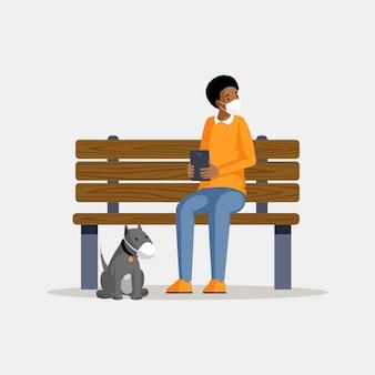 Mann, der flache farbillustration der schutzmaske trägt. afroamerikaner kerl mit hund in atemschutzmasken sitzen auf parkbank isolierte zeichentrickfigur. luftverschmutzungsproblem, schutz gegen smog