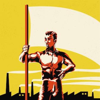 Mann, der flagge mit fabrik-hintergrund-illustration hält