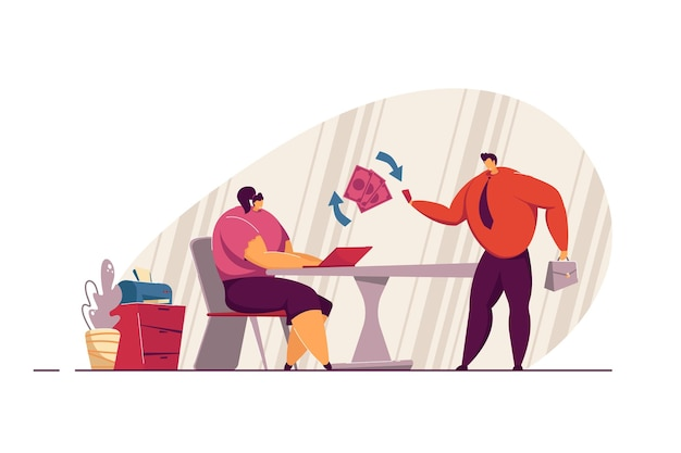 Mann, der frau für arbeit bezahlt. frau, die an laptop arbeitet. mann, der ihr geld für computerjobs gibt gehalts-, geschäfts-, finanzkonzept für website-design oder landing page