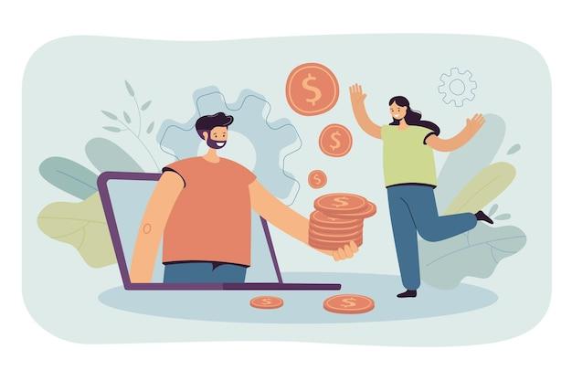 Mann, der frau über computerbildschirm goldene münzen gibt. riesiger laptop, mann, der geld hält, glückliche weibliche flache vektorillustration