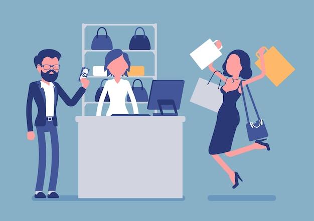 Mann, der für den einkauf bezahlt. junge glückliche frau mit taschen, die vor freude springen, nachdem sie geschenke von ihrem freund bekommen hat, kunden im einkaufszentrum in der nähe der kasse an der kasse. vektorillustration mit gesichtslosen charakteren
