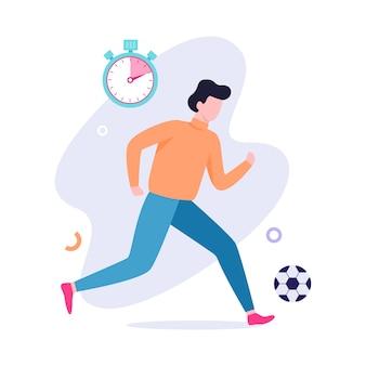 Mann, der fußball spielt. fußball, aktiver lebensstil. sportspiel und junger erwachsener. illustration
