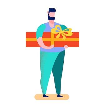 Mann, der geschenk-karikatur-vektor-illustration wählt