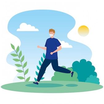 Mann, der gesichtsmaske verwendet, die in landschaft läuft