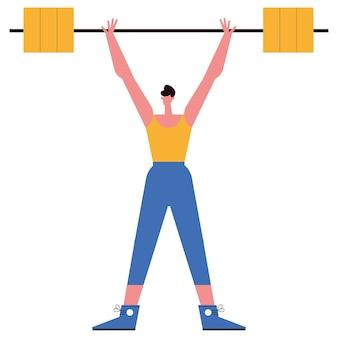 Mann, der gewichtsportcharakter hebt