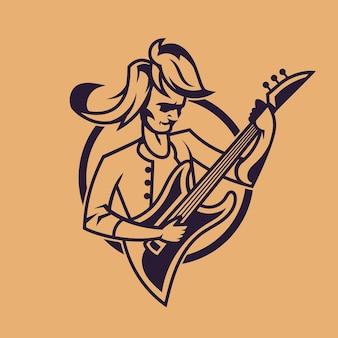 Mann, der gitarre spielt. konzeptkunst des rock'n'roll im monochromen stil.