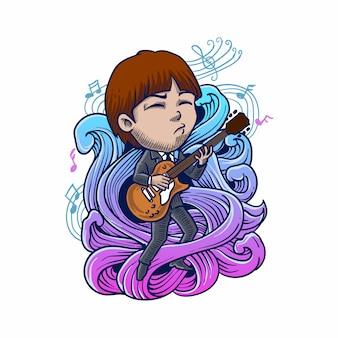 Mann, der gitarrengravurartillustration spielt
