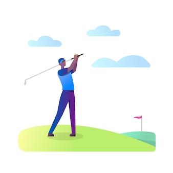 Mann, der golf spielt, isoliert auf weiß
