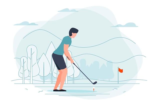 Mann, der golf spielt. park, wald, bäume und hügel im hintergrund. banner, postervorlage