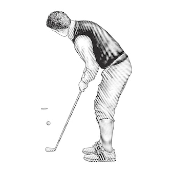 Mann, der golf spielt