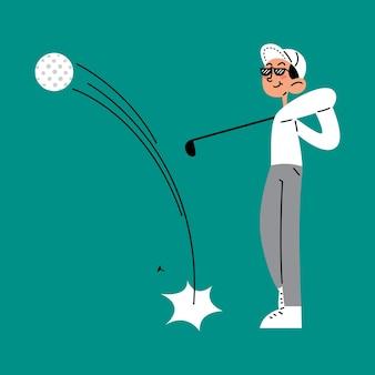 Mann, der golfschläger-schuss-flache vektorillustration tut