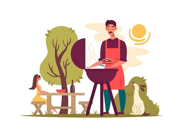 Mann, der grill auf grill vorbereitet. picknick im park, vektorillustration