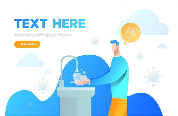 Mann, der hand für hygiene wäscht. mann wäscht seine hände. körperpflege.