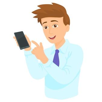 Mann, der hand in richtung zum telefon zeigt