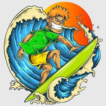 Mann, der hinten in der großen welle des strandes mit sonnenuntergang surft