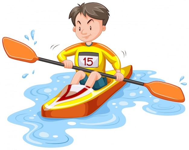 Mann, der hinunter den fluss lokalisiert kayak fährt