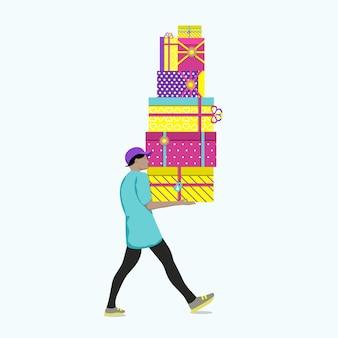Mann, der hohen stapel geschenkboxen trägt. einkaufen in der weihnachtszeit. flache vektorillustration.