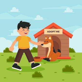 Mann, der hund adoptiert