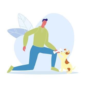 Mann, der hundeknochen-karikatur-illustration gibt
