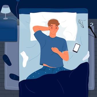 Mann, der im bett schlaflosigkeitskonzept liegt