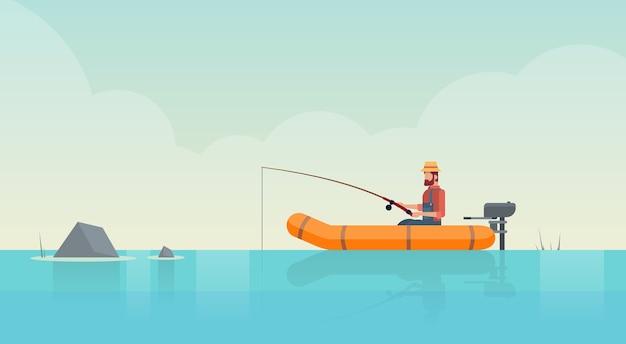 Mann, der im boot auf teich fischt