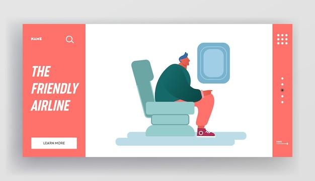 Mann, der im flugzeug sitzt flugreise durch flugwebsite landing page.