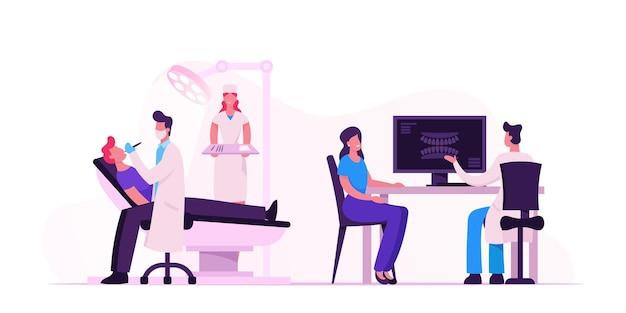 Mann, der im medizinischen stuhl im kabinett des stomatologen mit ausrüstung liegt. karikatur flache illustration