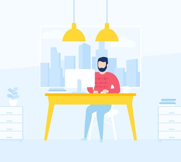 Mann, der im offenen büroraum arbeitet, illustration