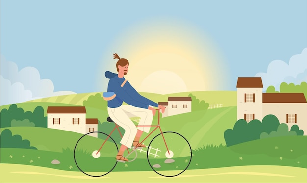 Mann, der im sommer naturlandschaftsvektorillustration radelt. karikatur junger aktiver männlicher charakter, der fahrrad nahe kleinem stadtdorf reitet.