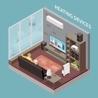 Mann, der im wohnzimmer mit heizgeräten, klimaanlage und isometrischer darstellung des heizkörpers fernseht