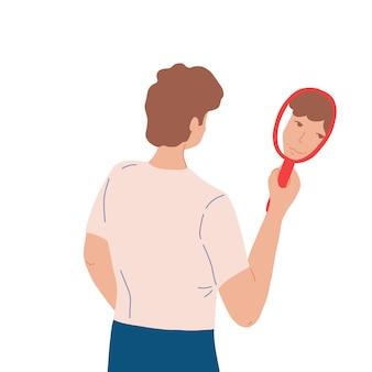 Mann, der in den spiegel schaut und lächelt, um spiegelbild zu hir. konzept der selbstliebe und akzeptanz. der junge mann schaut freundlich auf seinen spiegel. flache karikaturillustration