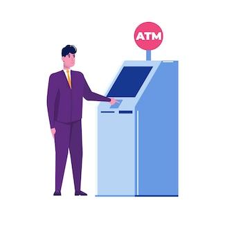 Mann, der in der nähe von geldautomaten steht. flache vektorgrafik.