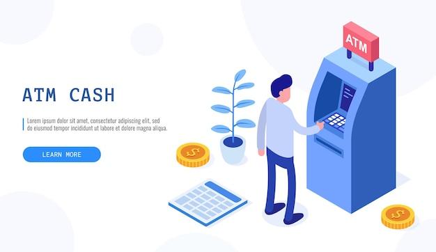 Mann, der in der nähe von geldautomaten steht. menschliche warteschlange am geldautomaten, web-cashbox, maschinentransaktion, kann für webbanner, infografiken, heldenbilder verwendet werden. isometrische vektorillustration.