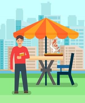 Mann, der in der pizzeria-vektor-illustration zu mittag isst