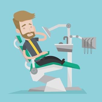 Mann, der in der zahnarztstuhlillustration leidet.