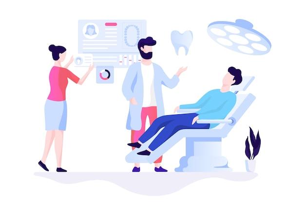 Mann, der in der zahnklinik mit zahnschmerzen sitzt
