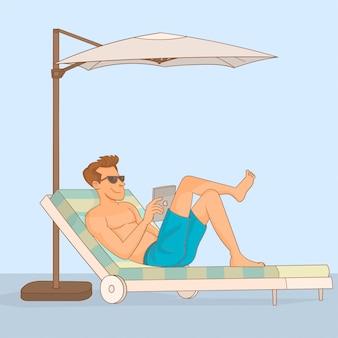 Mann, der in einem klappstuhl mit einem regenschirm sitzt