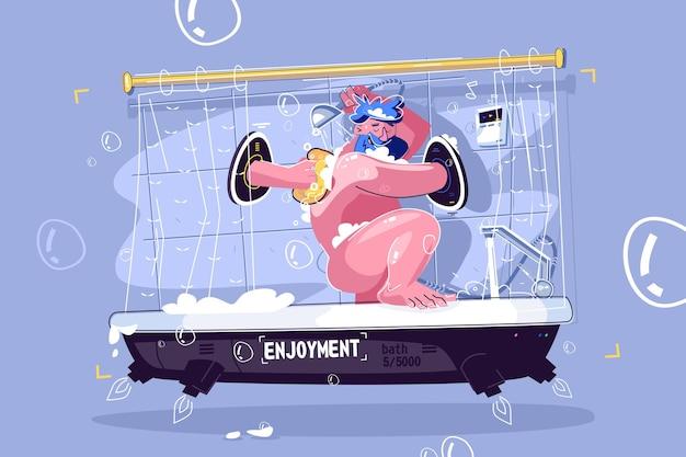Mann, der in fantastischer duschevektorillustration wäscht. cartoon lächelnder kerl, der sich im flachen stilkonzept des schwarzen lochportals in der dusche entspannt