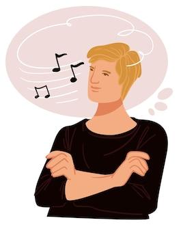 Mann, der in gedanken an musiknotenkomponist denkt