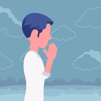 Mann, der in namaste handgeste betet